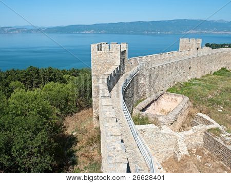 walls and towers embattled of castle Samuil, on background the blu waters of Ohrid lake, Republic Of Macedonia