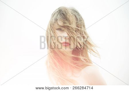 Beauty Salon And Hairdresser. Girl With Lipstick On Lips. Hair Recover. Woman With Brittle Hair. Hai