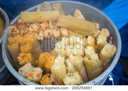 Steaming Fresh Tamales At A Farmers Market In California United States