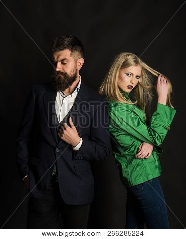 A Sense Of Style. Couple In Love In Fashionable Style. Fashion Couple Of Sexy Woman And Bearded Man.