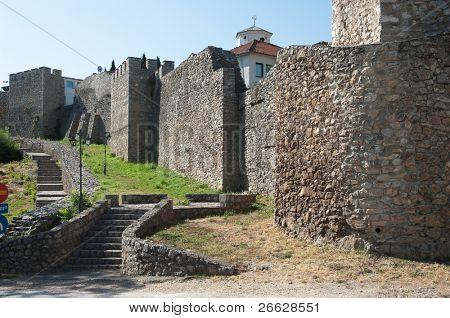 the massive turreted walls of Samuil castle near the UpperGate (Gorna porta) in Ohrid, Republic Of Macedonia