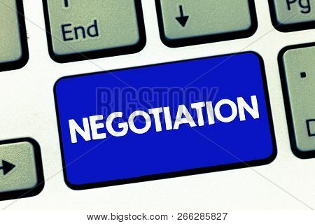 Handwriting Text Negotiation. Concept Meaning Discussion Aimed At Reaching Agreement Transfer Legal