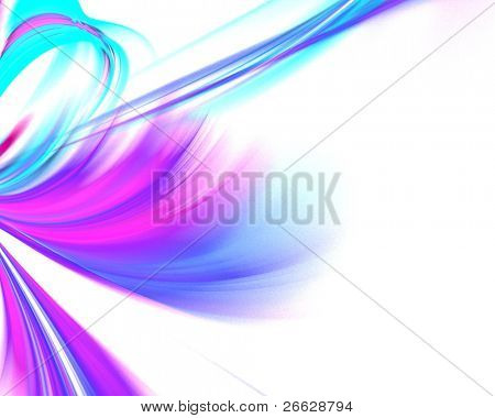 Bright Colored fractal tie on the white background poster