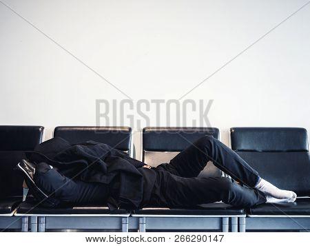 Traveler Sleep On Seats Waiting Area Transit Flight People Jet Lag