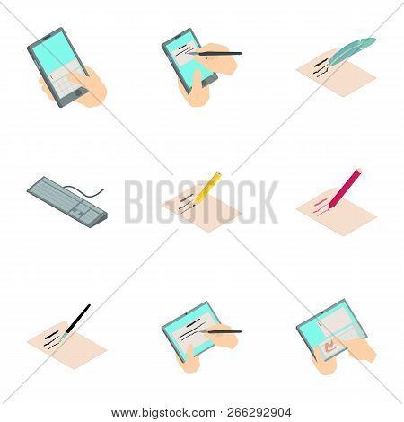 Digital Signature Icons Set. Cartoon Set Of 9 Digital Signature Vector Icons For Web Isolated On Whi