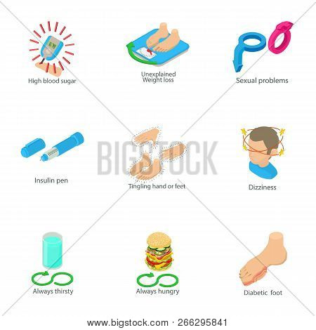 Ailment Of Body Icons Set. Isometric Set Of 9 Ailment Of Body Vector Icons For Web Isolated On White