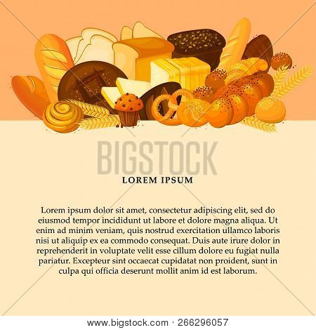 Bread Banner For Bakery And Pastry Shop Template. Bread Poster. Eco Foods. Cartoon Illustration. Rye