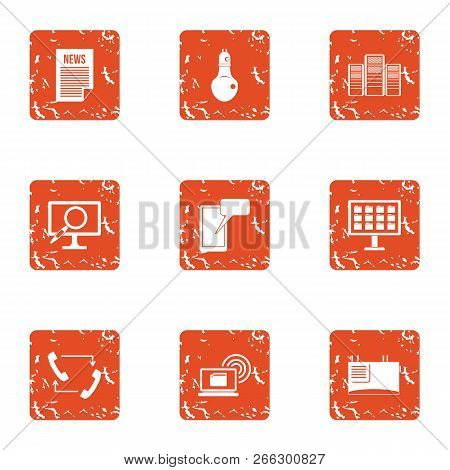 Knowledge Folder Icons Set. Grunge Set Of 9 Knowledge Folder Vector Icons For Web Isolated On White