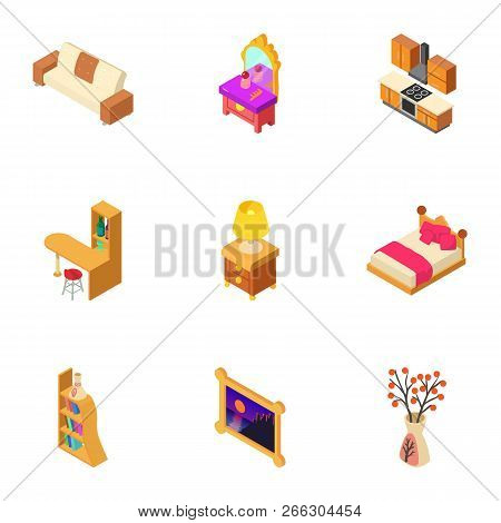Cosy Hall Icons Set. Isometric Set Of 9 Cosy Hall Vector Icons For Web Isolated On White Background