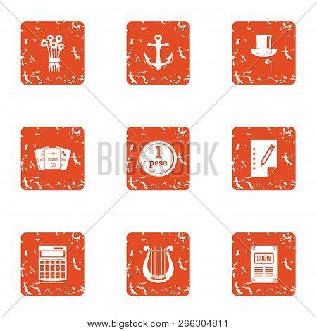 Port Economy Icons Set. Grunge Set Of 9 Port Economy Vector Icons For Web Isolated On White Backgrou