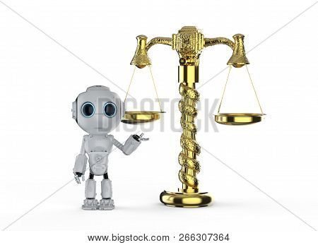 Cyber Law Concept With 3d Rendering Mini Robot With Law Scale