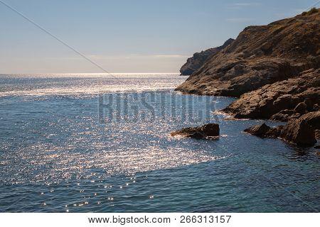 Mountain Sea Bay Rocks Panoramic Landscape. Sea Bay Rocks View In Mountains. Mountain Sea Bay Rock C