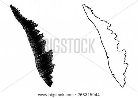 Kerala (states And Union Territories Of India, Federated States, Republic Of India) Map Vector Illus