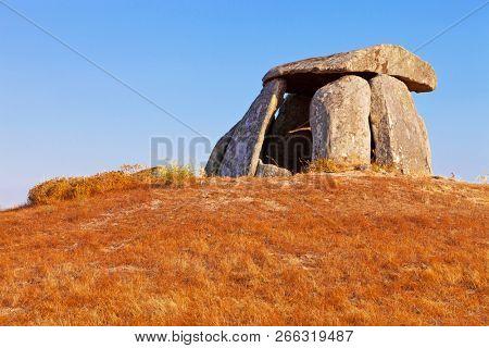Neolithic 5000 year old Anta do Tapadao Dolmen from Megalithic culture. Second biggest in Portugal. Aldeia da Mata, Crato, Alto Alentejo, Portugal