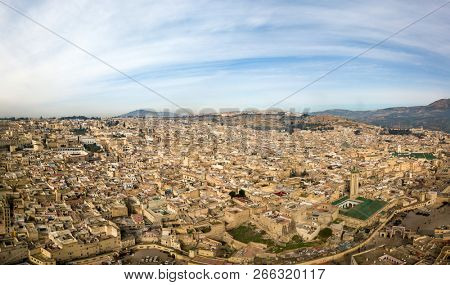 Aerial panorama of the old Medina in Fes, Morocco (Fes El Bali Medina) poster