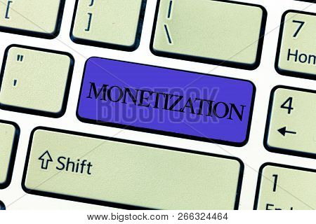 Word writing text Monetization. Business concept for Process of converting establishing something into legal tender poster