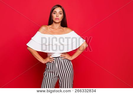 Portrait Of Nice Cool Attractive Magnificent Fascinating Lovable Lovely Minded Curious Lady In Strip