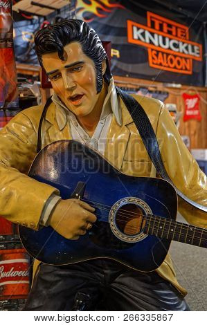 Sturgis, South Dakota, September 18, 2018 : An Elvis Statue Seems To Play Guitar In A Saloon Of The