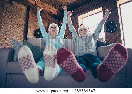 Careless Mature Friend. Low Angle View Of Charming Cheerful Adorable Glad Ecstatic Careless Grey-hai