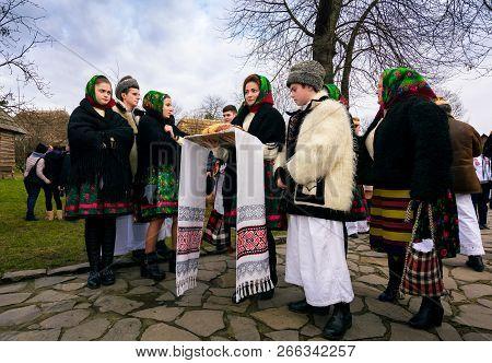 Uzhgorod, Ukraine - Jan 13, 2018: Vasylya Festival Celebrating In Museum Of Folk Architecture And Li