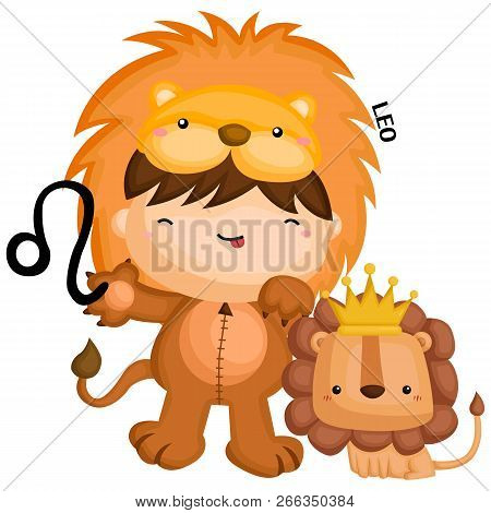 Leo Zodiac Sign Portrayed By A Kid In A Lion Costume Standing Beside A Small Lion