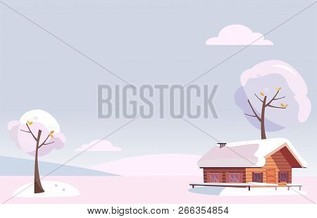 Vector Flat White Snowy Winter Landscape With Small Country House And Snow Covered Trees On The Snow