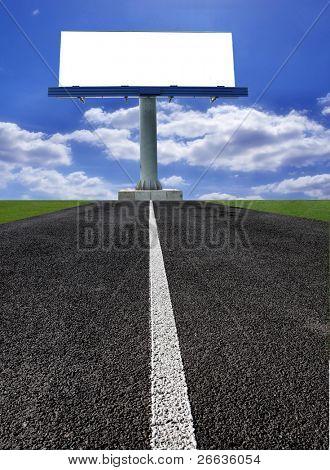 Big blank billboard on the road
