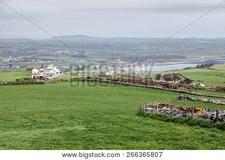 Cregneash Area Panorama - Isle Of Man. Isle Of Man.