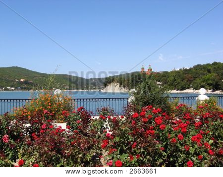 Russia Krasnodarskiy regionthe Caucasian mountains lake Abrau poster