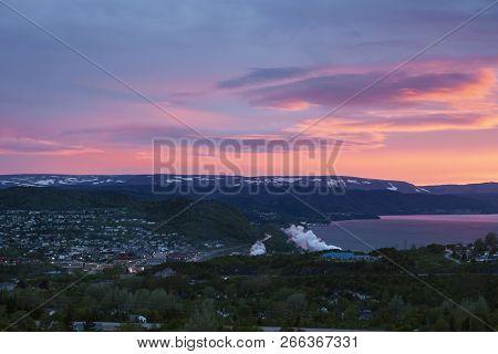 Corner Brook At Sunset. Corner Brook, Newfoundland And Labrador, Canada.
