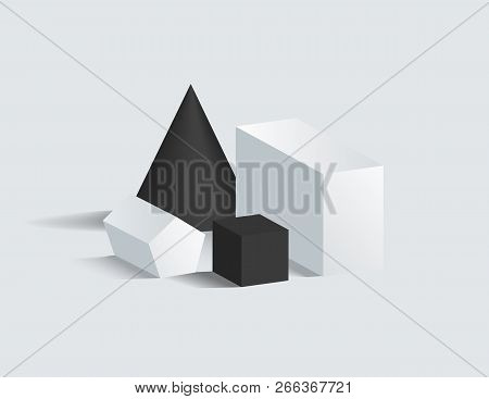 Black Cone And Cube, Cuboid And Pentagrammic Prism Vector Illustration, Isometric 3d Figures Exposit