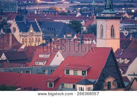 Panorama Of Erfurt At Evening. Erfurt, Thuringia, Germany.
