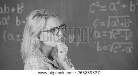 Solve Mathematics Task. Solve That Task. School Education Basic Knowledge. Teacher Woman Think About
