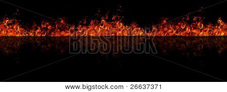 Firewall reflected on floor, isolated on white background