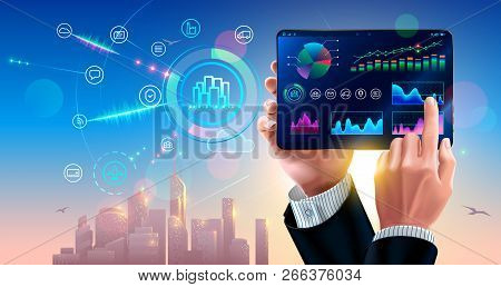 Business Finance Diagram And Strategy Of Sale On Screen Tablet In Hands Businessman. Interface Mobil