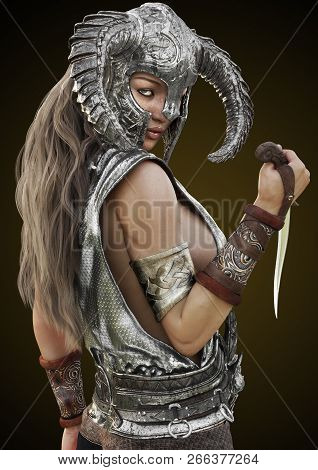 Fantasy Rouge Warrior Female Posing With Helmet And Dagger On A Gradient Background. 3d Rendering Il