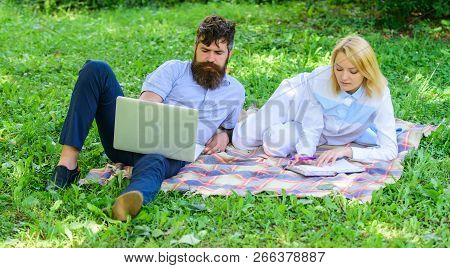 Couple In Love Or Family Work Freelance. Modern Online Business. Family Spend Leisure Outdoors Work