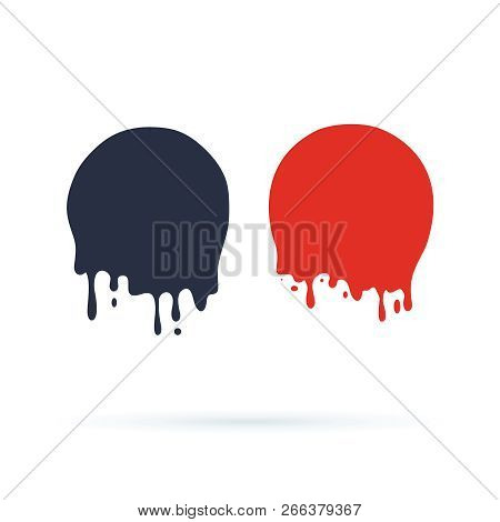 Paint Drip Stickers Or Circle Labels. Vector Liquid Drops Icons For Graffiti Blob Stickers. Leak Bla