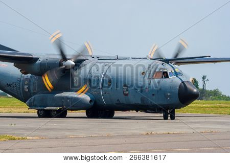 Cambrai, France - Jun 26, 2010: French Air Force C-160 Transall Transport Propellor Plane Taxiing On