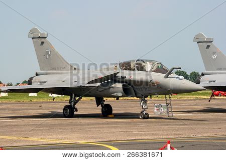 Cambrai, France - Jun 26, 2010: French Air Force Dassault Rafale Fighter Jet Plane On The Tarmac Of