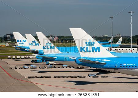 Amsterdam, The Netherlands - Jun 27, 2011: Klm Airlines Passenger Planes At The Gates Of Amsterdam S