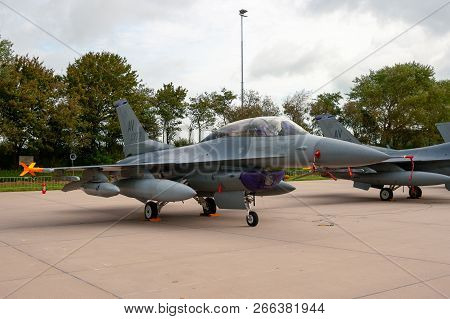 Leeuwarden, Netherlands - Sep 17, 2011: United States Air Force F-16 Fighter Jet Plane, Based In Avi