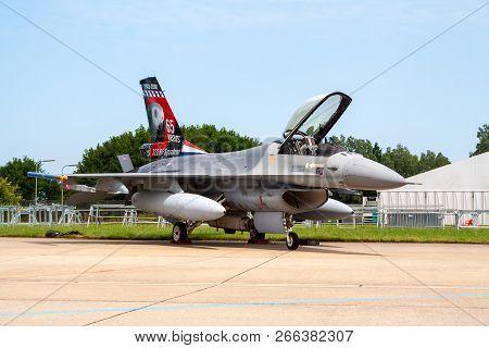 Leeuwarden, Netherlands - June 21, 2008: Royal Netherlands Air Force F-16 On The Tarmac Of Leeuwarde