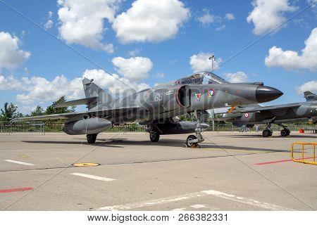 Florennes, Belgium - Jul 6, 2008: French Navy Dassault Super Etendard Fighter Jet On The Tarmac Of F