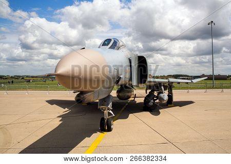 Florennes, Belgium - Jul 6, 2008: German Air Force F-4 Phantom Ii Fighter Jet On The Tarmac Of Flore