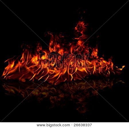 Fire flames reflected on floor