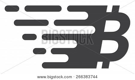 Bitcoin Symbol Icon With Fast Speed Effect. Vector Illustration Designed For Modern Abstract With Sy