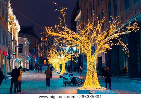 Moscow, Russia, January 17, 2018. Night Winter Moscow In The Snow. Street  Decorated For The New Yea