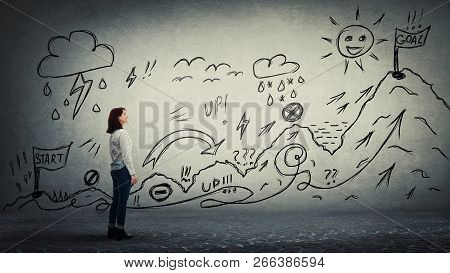 Businesswoman Starting A Life Quest With Obstacles Drawn On Wall. Self Overcome Climbing Mountain Wi