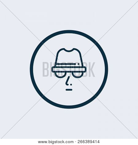 Agent Icon. Spy Sunglasses. Spy Agent, Secret Agent, Hacker. Mysterious Man